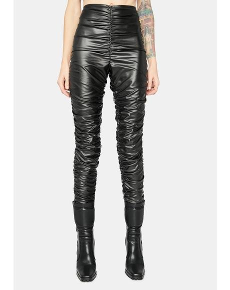 Boom Boom Pow Ruched Vinyl Leggings