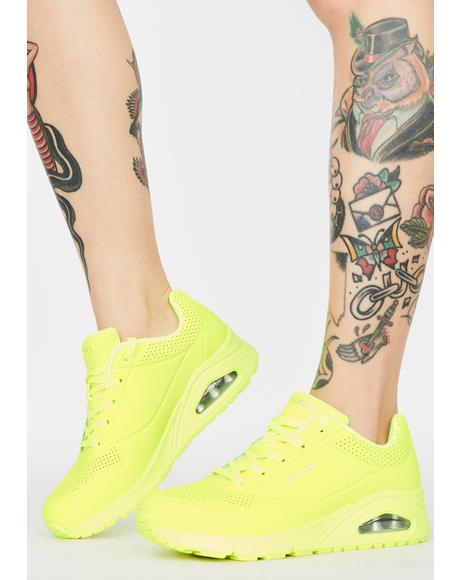 Yellow Neon Nights Uno Sneakers