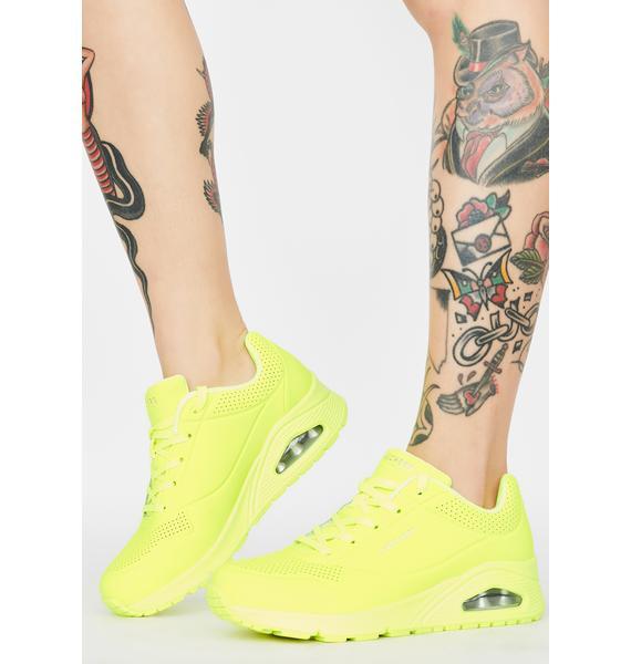 Skechers Yellow Neon Nights Uno Sneakers