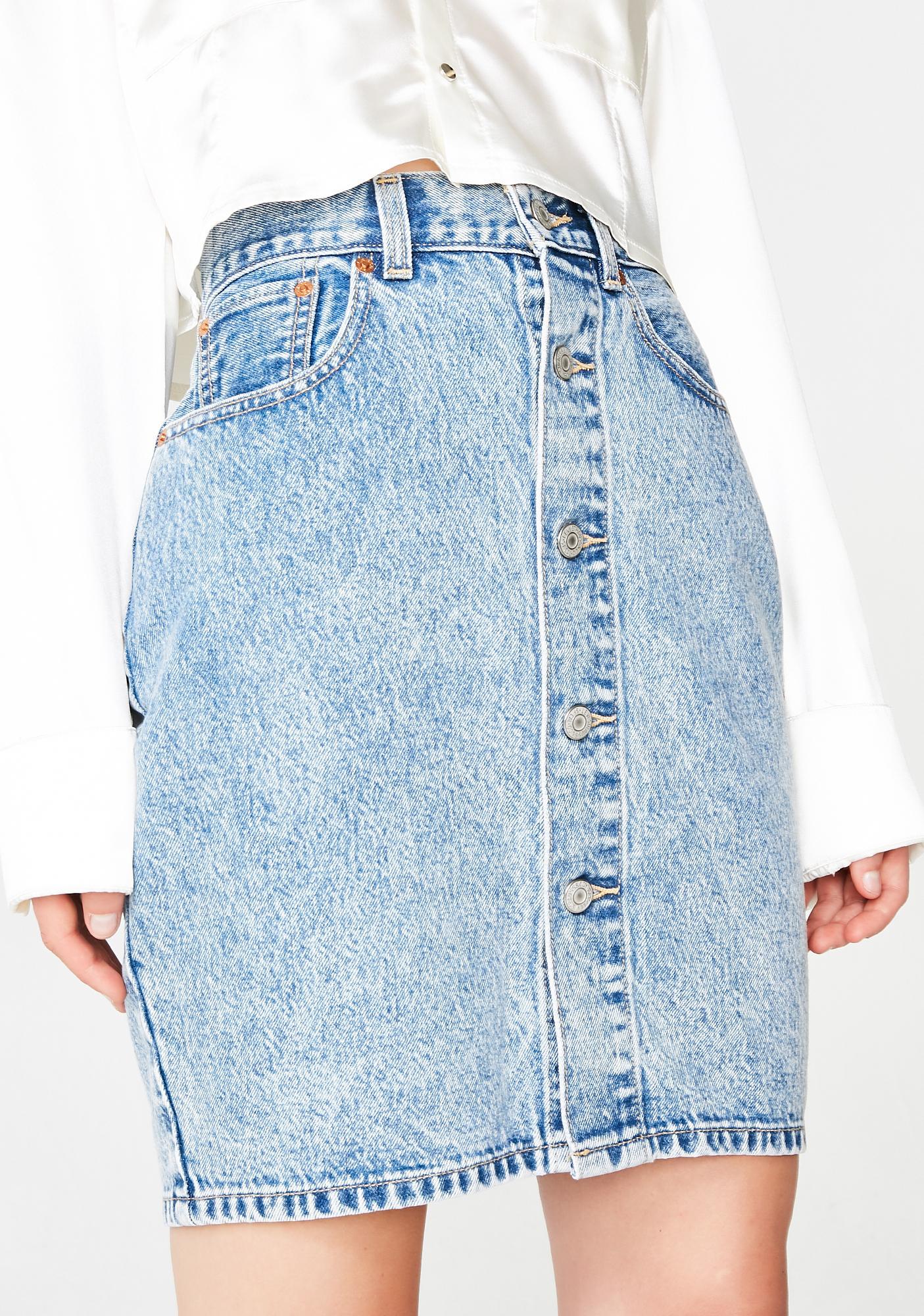c7d7f841a0 Levis Button Thru Mom Skirt