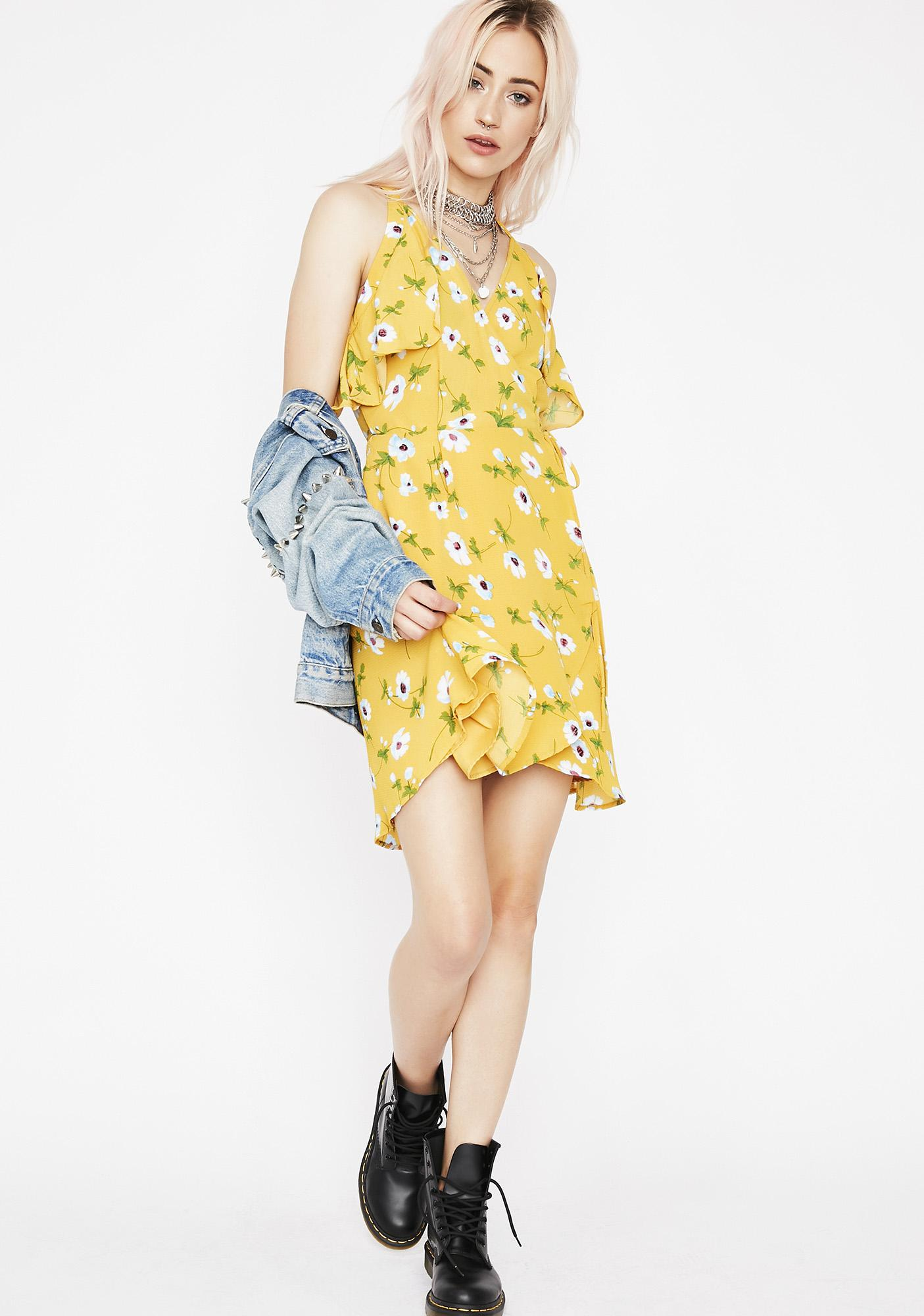 fdaf5f5e969e6 Yellow Wrap Floral Flowy Mini Dress | Dolls Kill