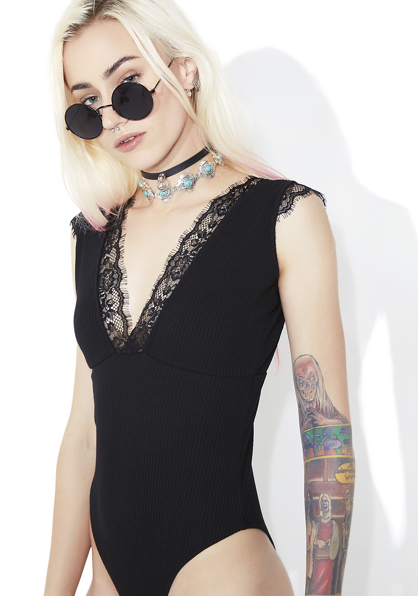 Black Ribbed Knit Lace Trim Bodysuit