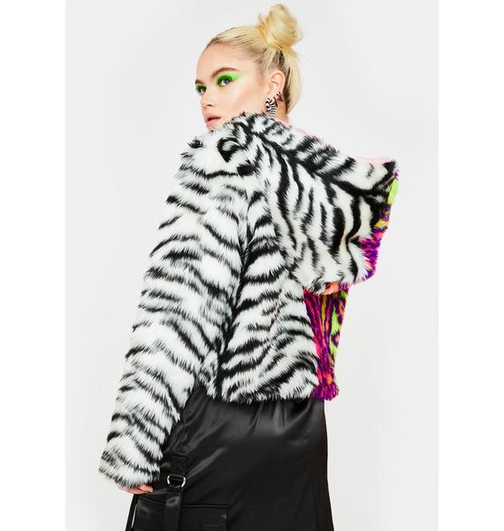 Ivy Berlin Tiger Leopard Split Faux Fur Jacket