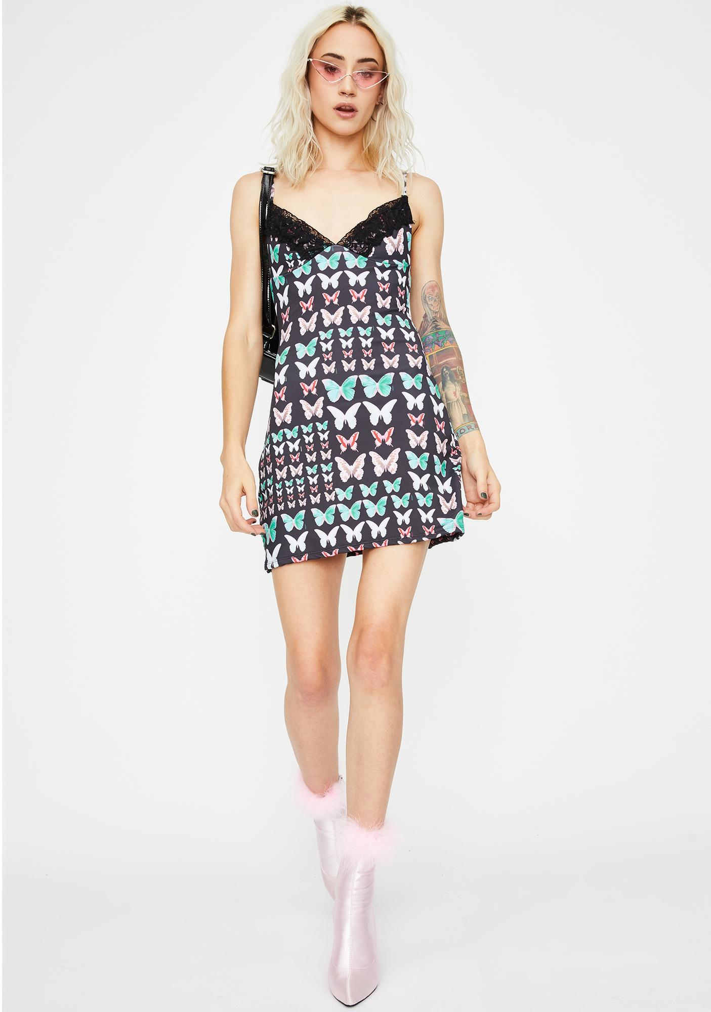 O Mighty Black Butterfly Cami Dress