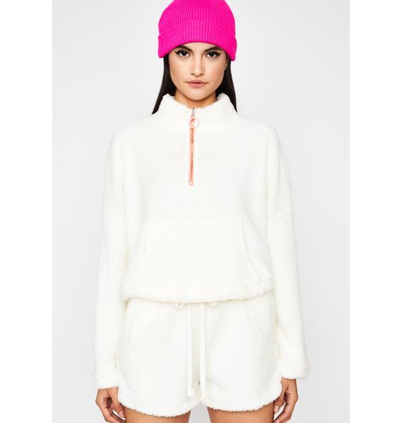 Polar Bear Fuzzy Shorts Set
