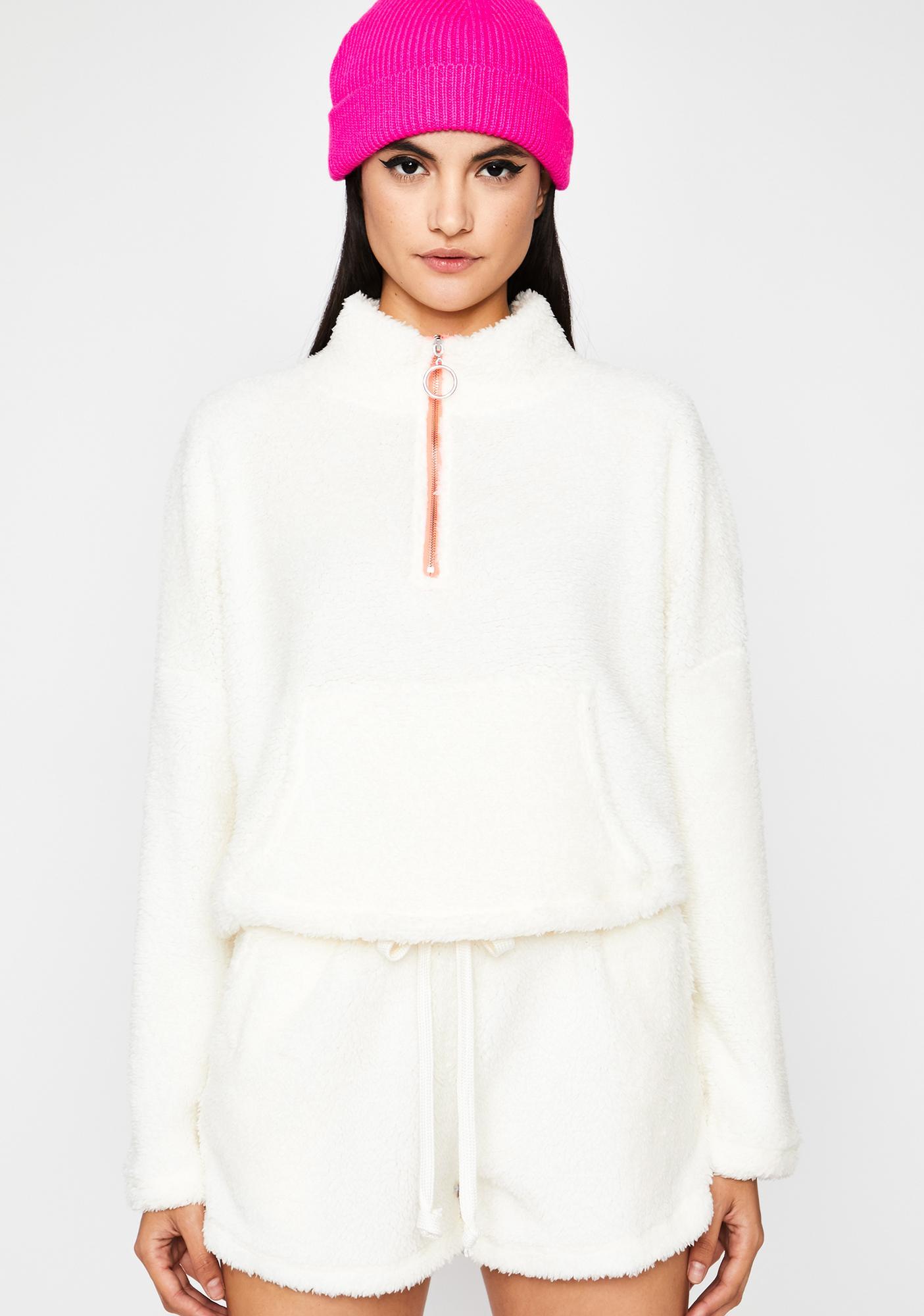 Polar Bear Fuzzy Shorts Set by