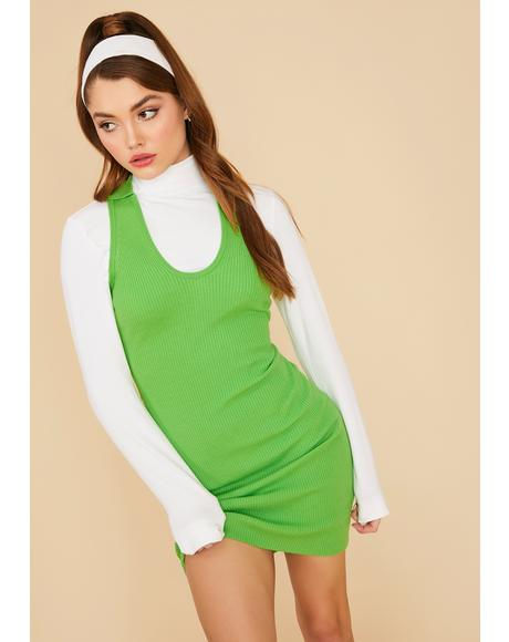 Lime Voted Most Popular Ribbed Mini Dress