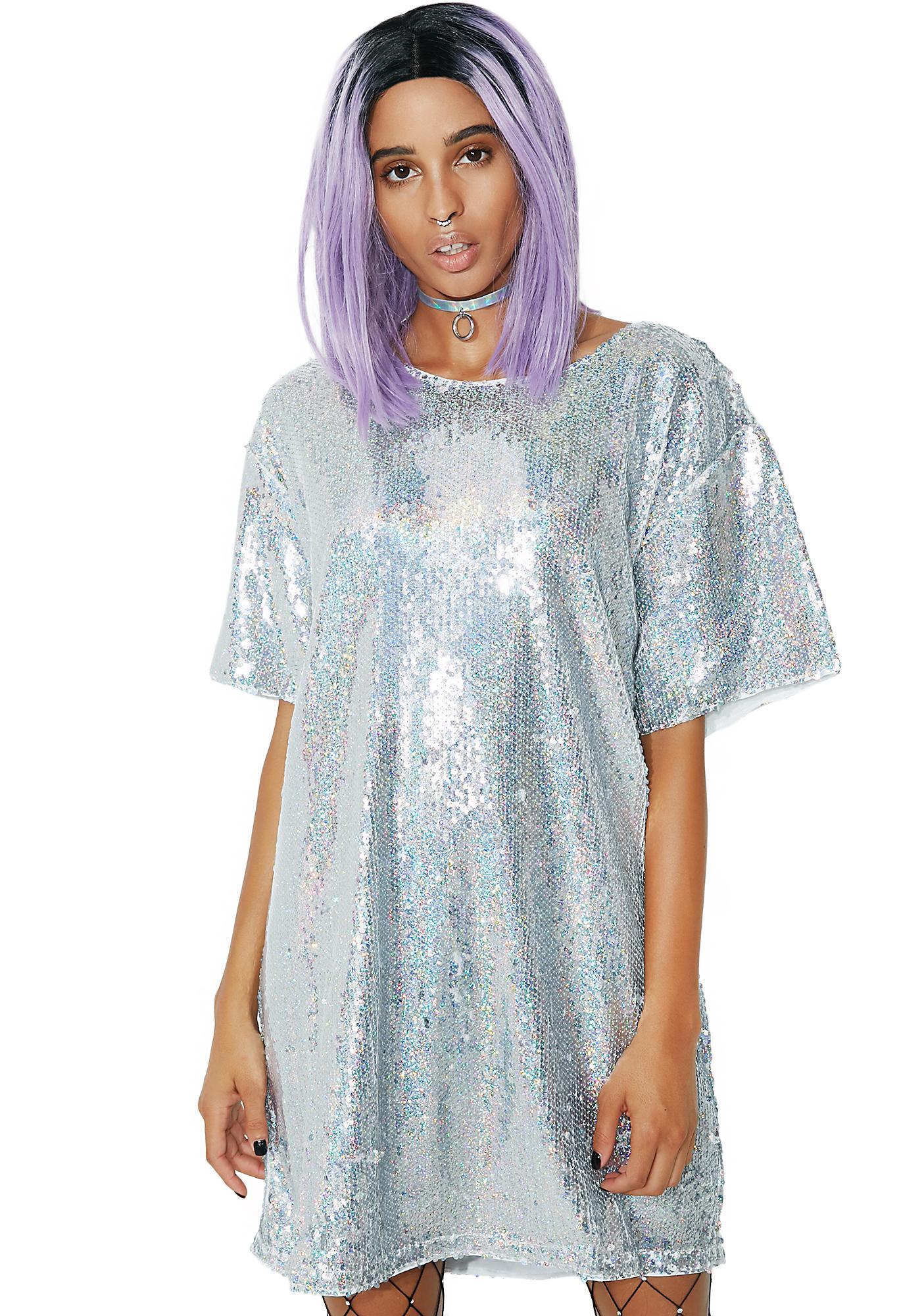 Sequin Silver T Shirt Dress | Dolls Kill