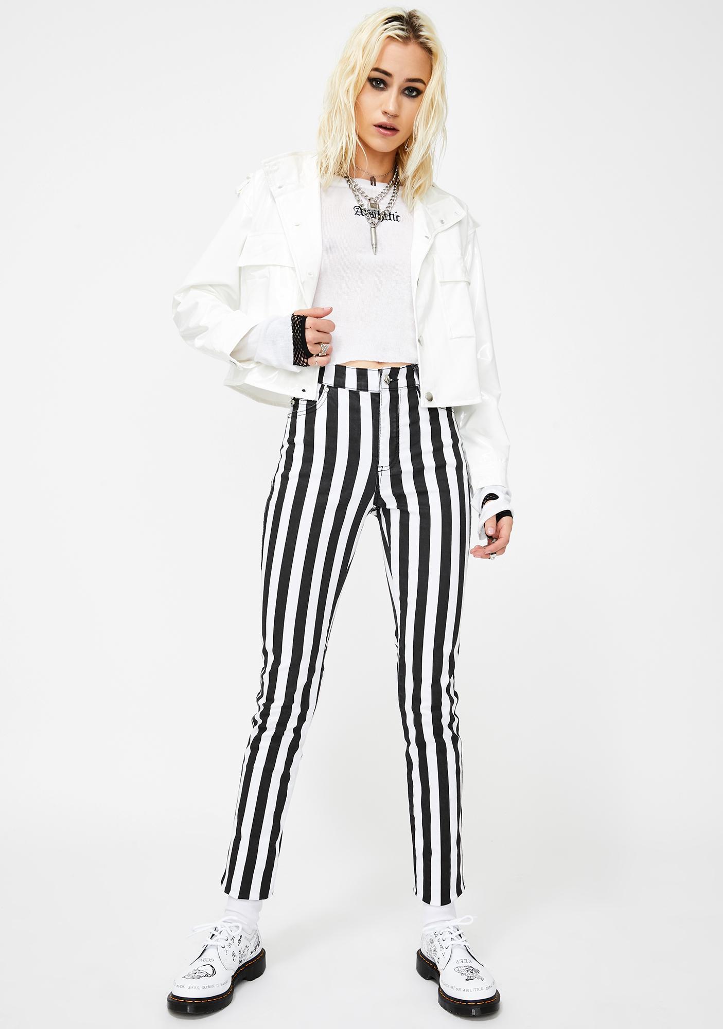 Tripp NYC Wide Stripe T-Back Skinny Jeans