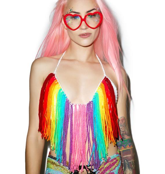 Rainbow Falls Fringe Bra Top