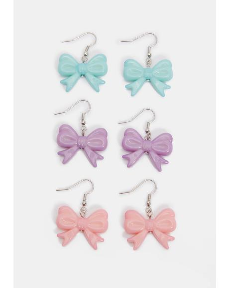 Little Miss Lovely Bow Earring Set
