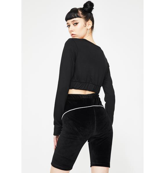 Criminal Damage Black Velour Biker Shorts