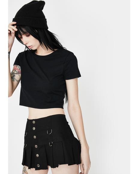Black See Through You Crop Tee
