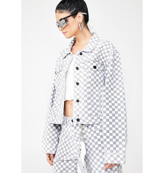 Momokrom Checkerboard Cropped Denim Jacket