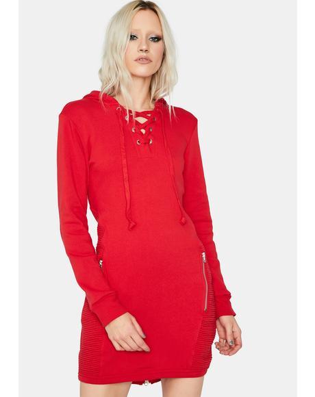 Fire Anti Love Lace Up Sweatshirt Dress