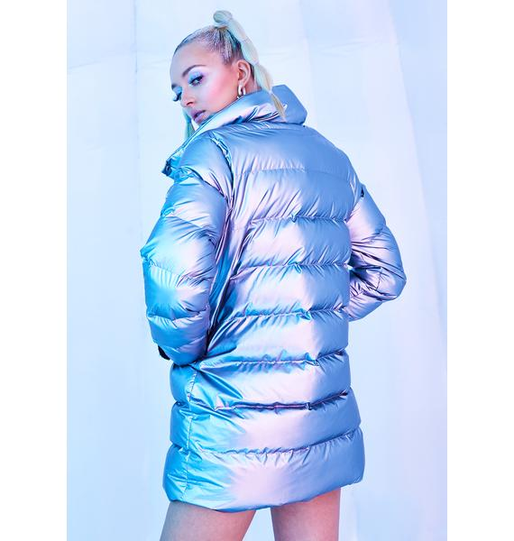 Club Exx Frosted Star Metallic Puffer Jacket