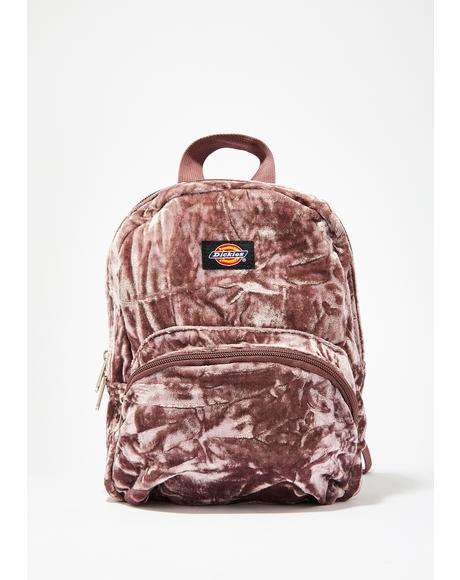 Purp Crushed Velvet Mini Backpack
