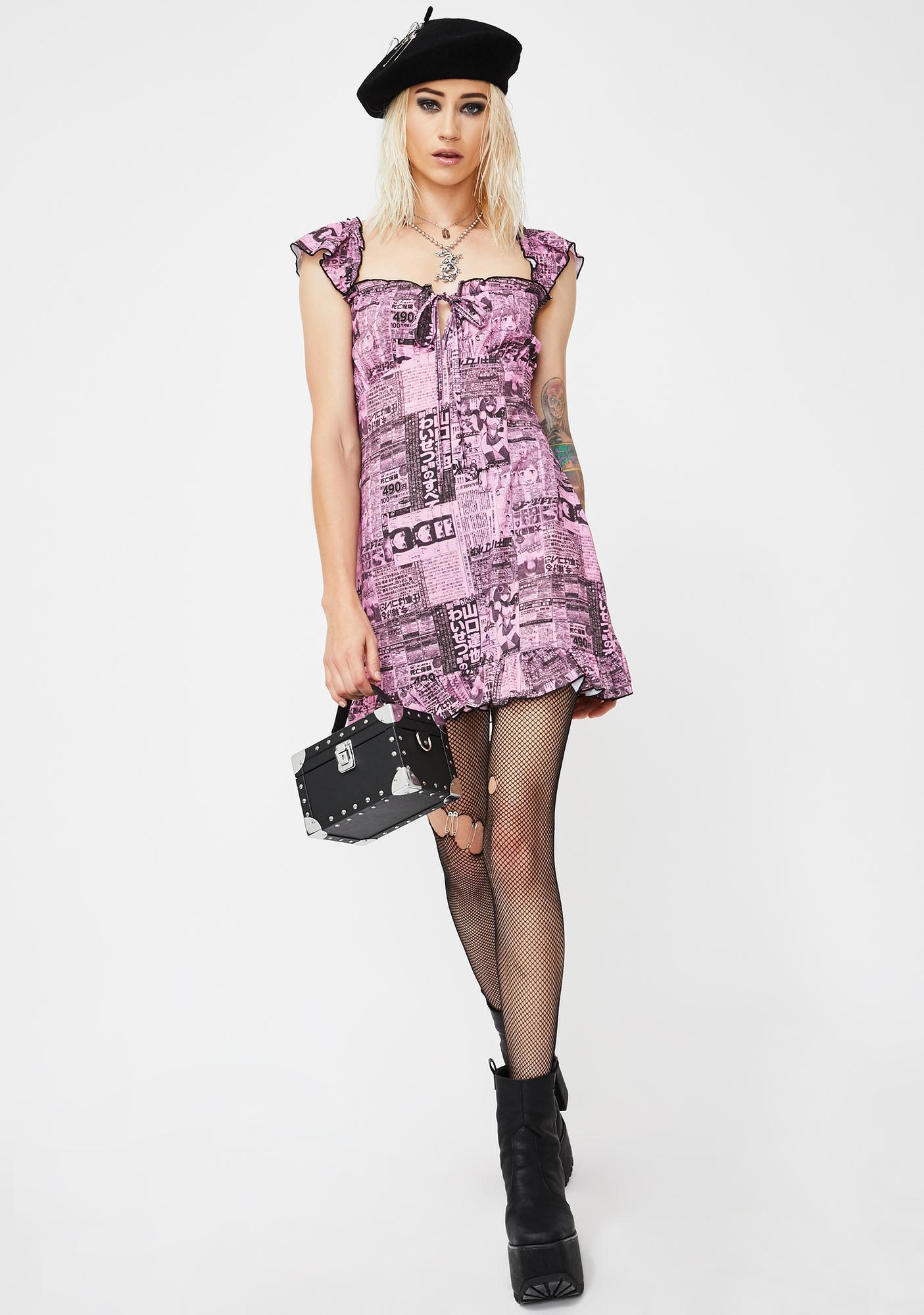 NEW GIRL ORDER Newspaper Print Mini Dress