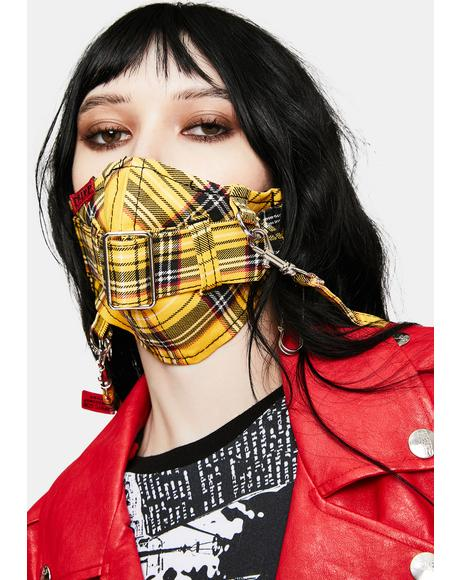 Yellow Plaid Super Straps Face Mask