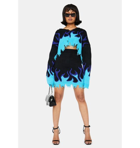 Sapphire Raise Hell Sweater Skirt Set