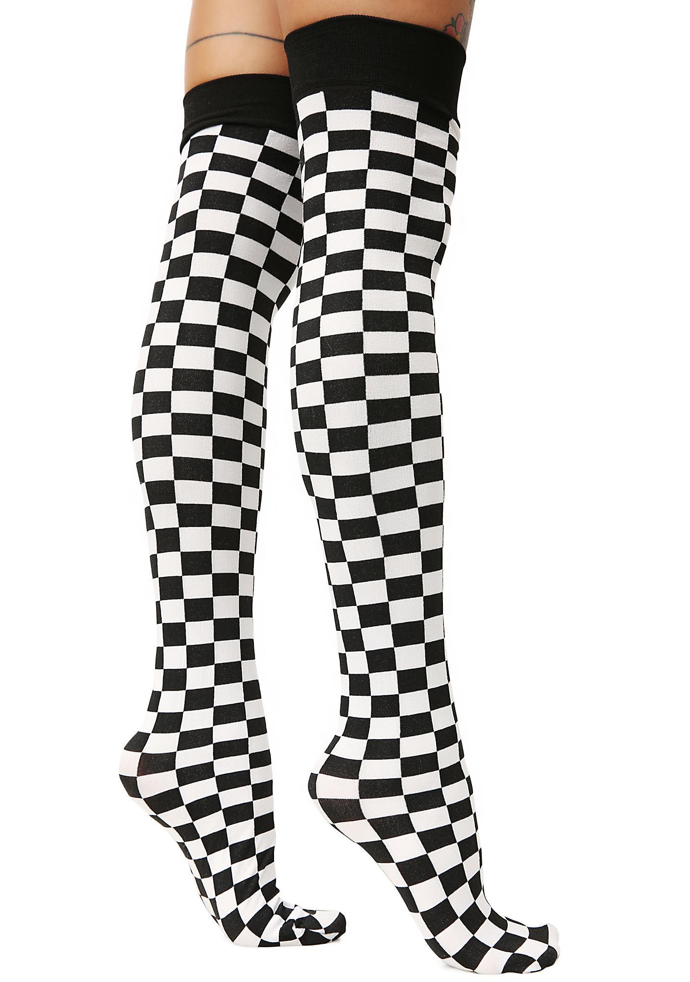Goin' Crazy Checkered Thigh Highs