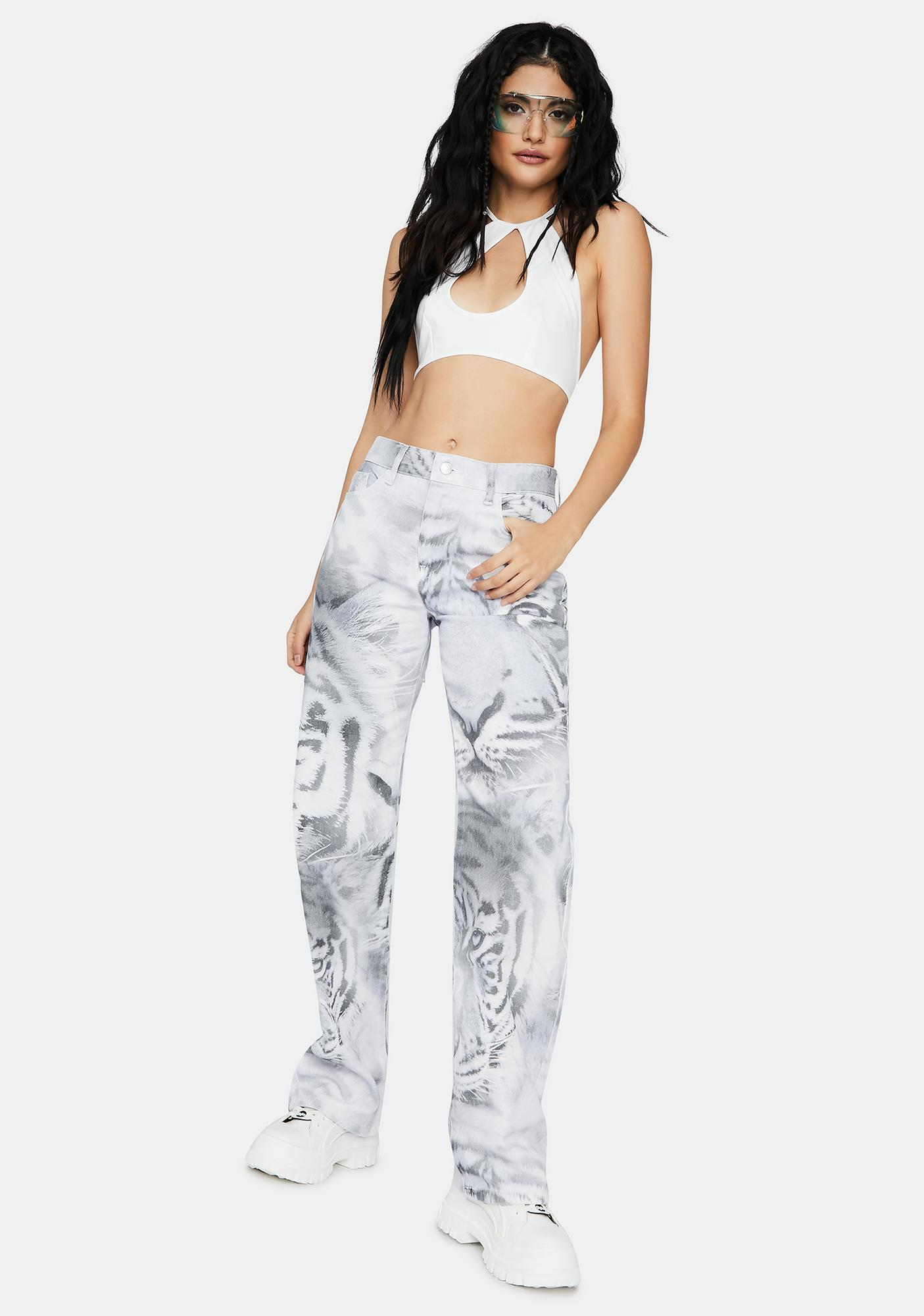 Jaded London Tiger Fade Print Slouchy Fit Jeans