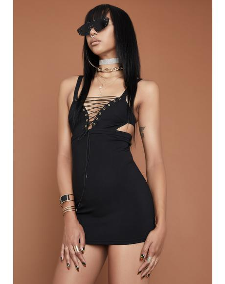 Love It Or Leave It Lace Up Dress