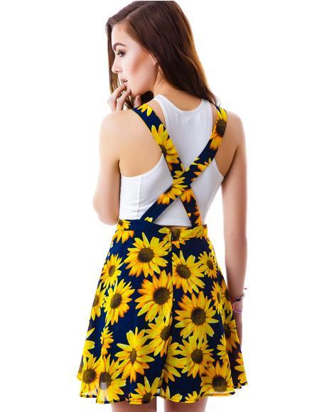 Sunflower Garden Suspender Skirt