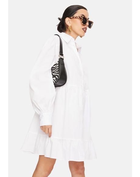 White Tiered Button Up Shirt Dress