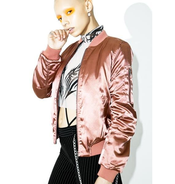 Pink Champagne Bomber Jacket