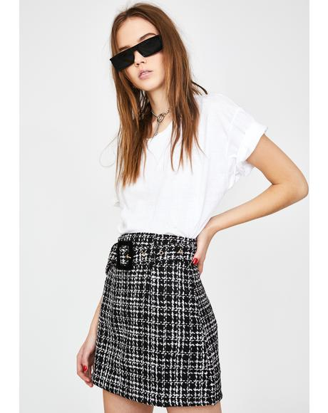 Black Plaid Tweed Mini Skirt