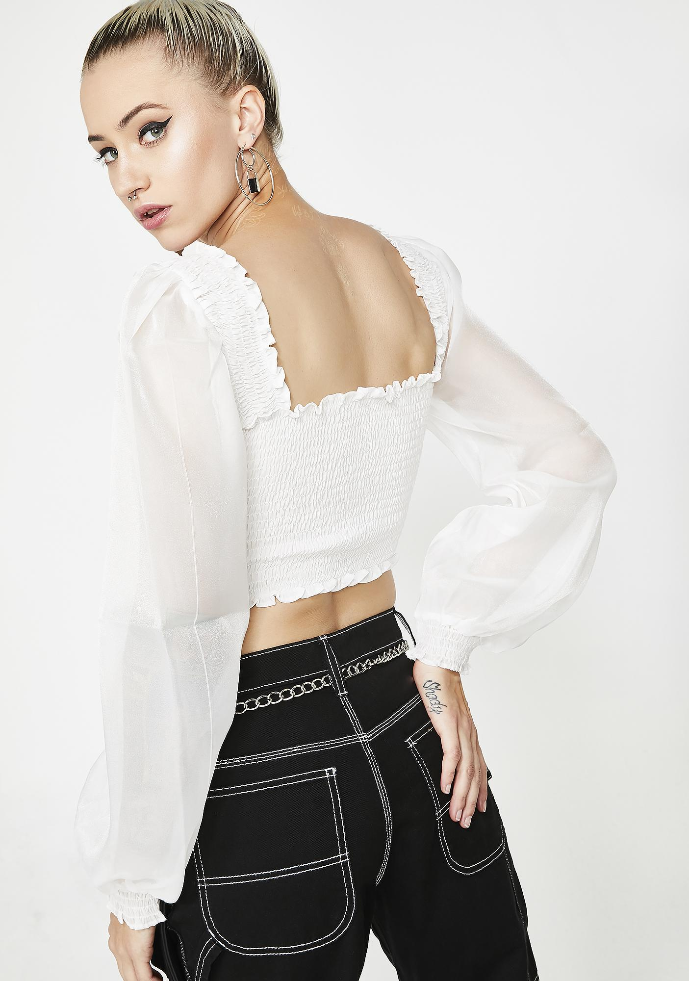 Pure Lady Love Smocked Crop Top