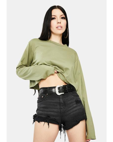 Olive Boxy Long Sleeve Crop Top