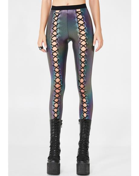 Oil Slick Holographic Nancy Corset Leggings