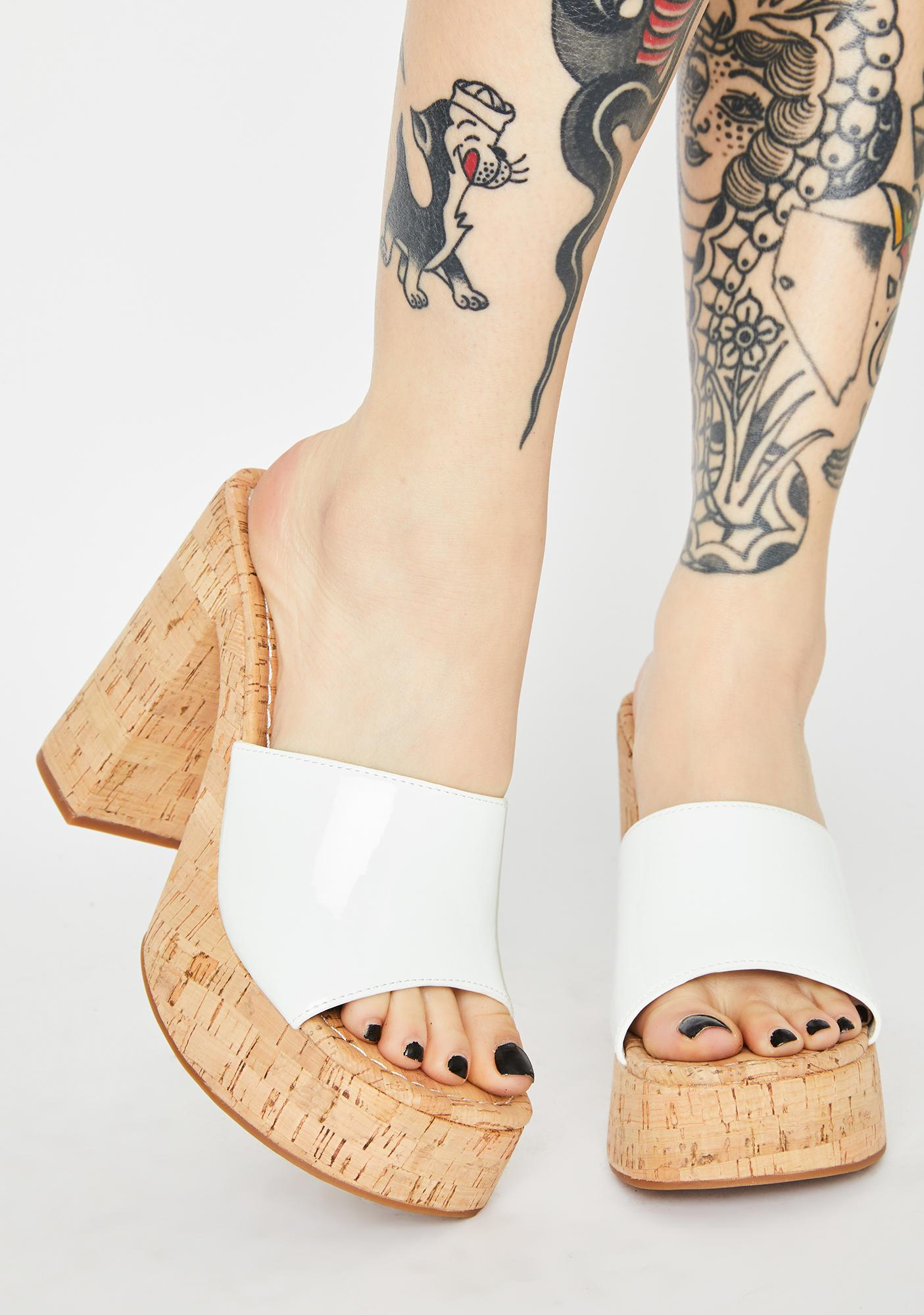 ROC Boots Australia  White Patent Cashew Block Heels