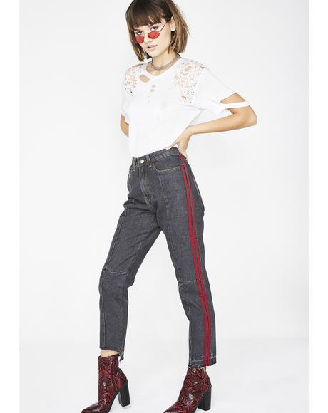Washed Black Side Stripe Mom Jeans