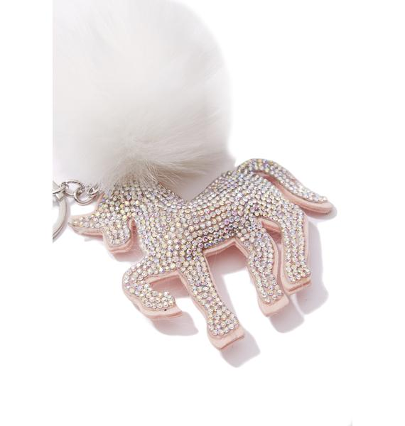 Mystic Baby Unicorn Pom-Pom Keychain