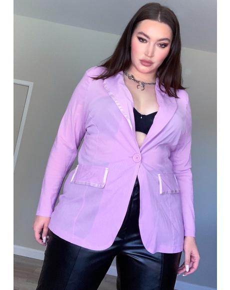 Lavender Servin' Class With Sass Mesh Blazer