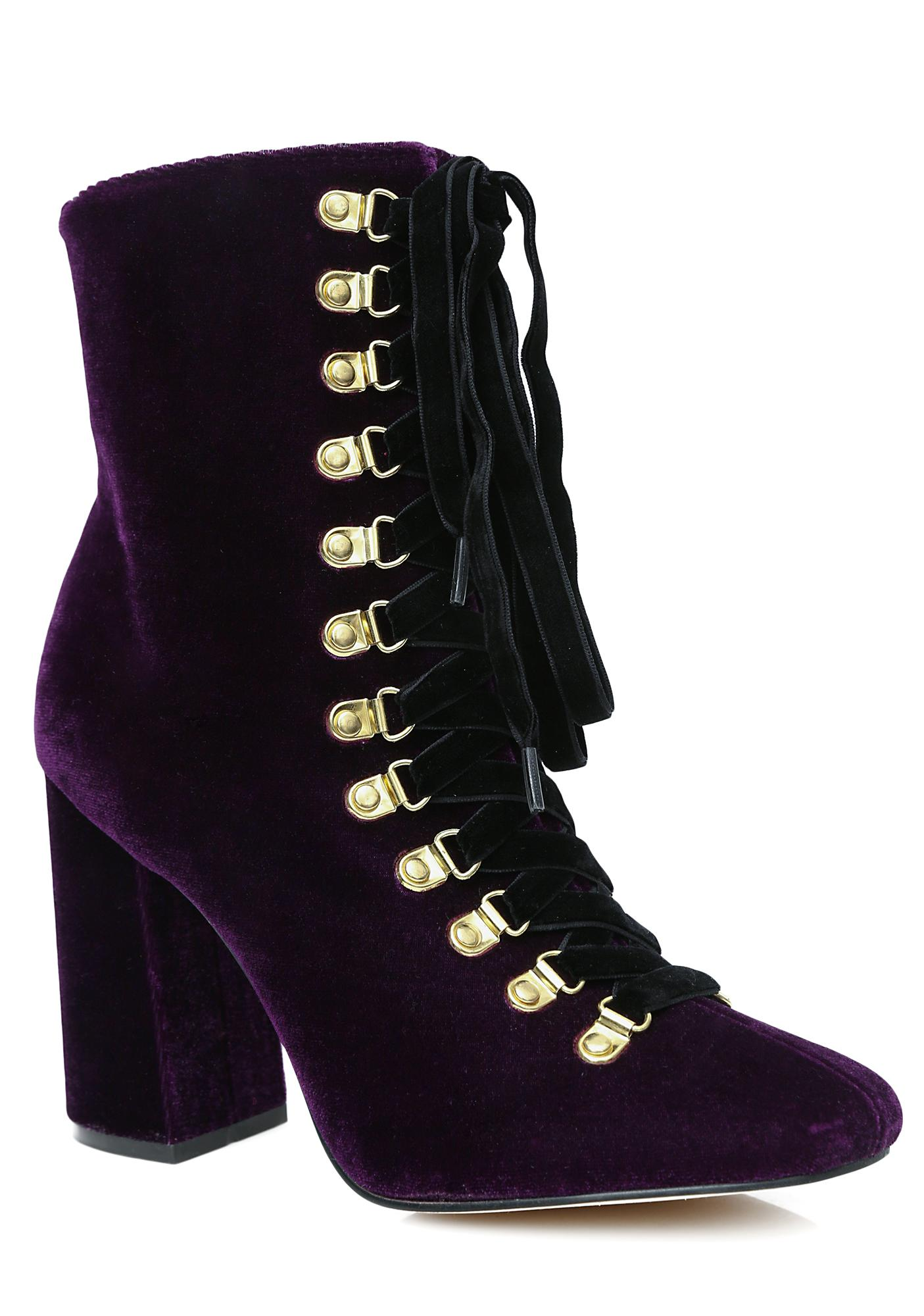 Privileged Plum Reeboot Velvet Lace-Up Booties