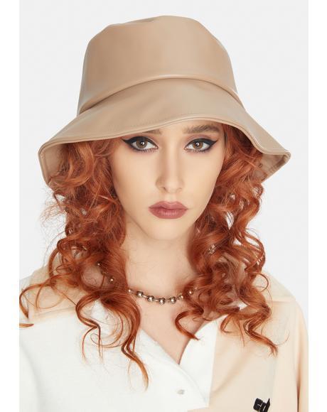 Tan No Complaints Vegan Leather Bucket Hat