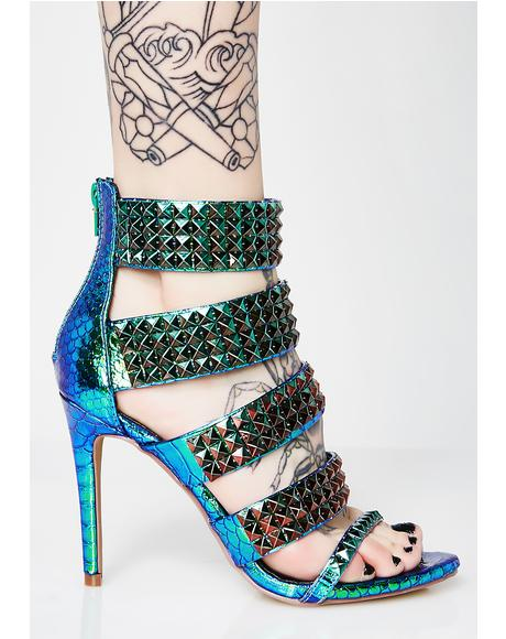 Acting Nonchalant Studded Heels