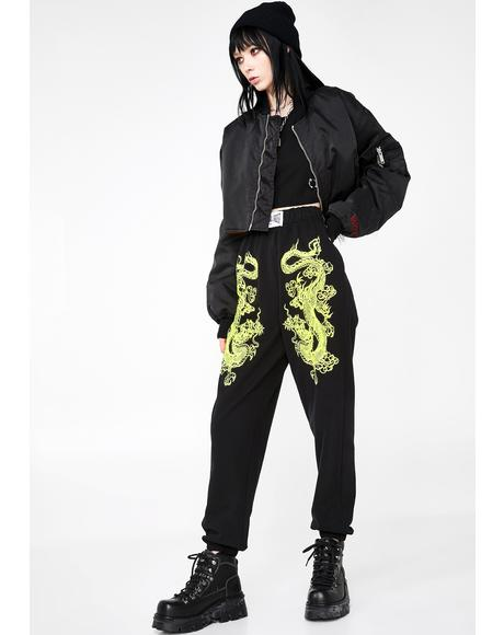 Dragon Print Cargo Trousers