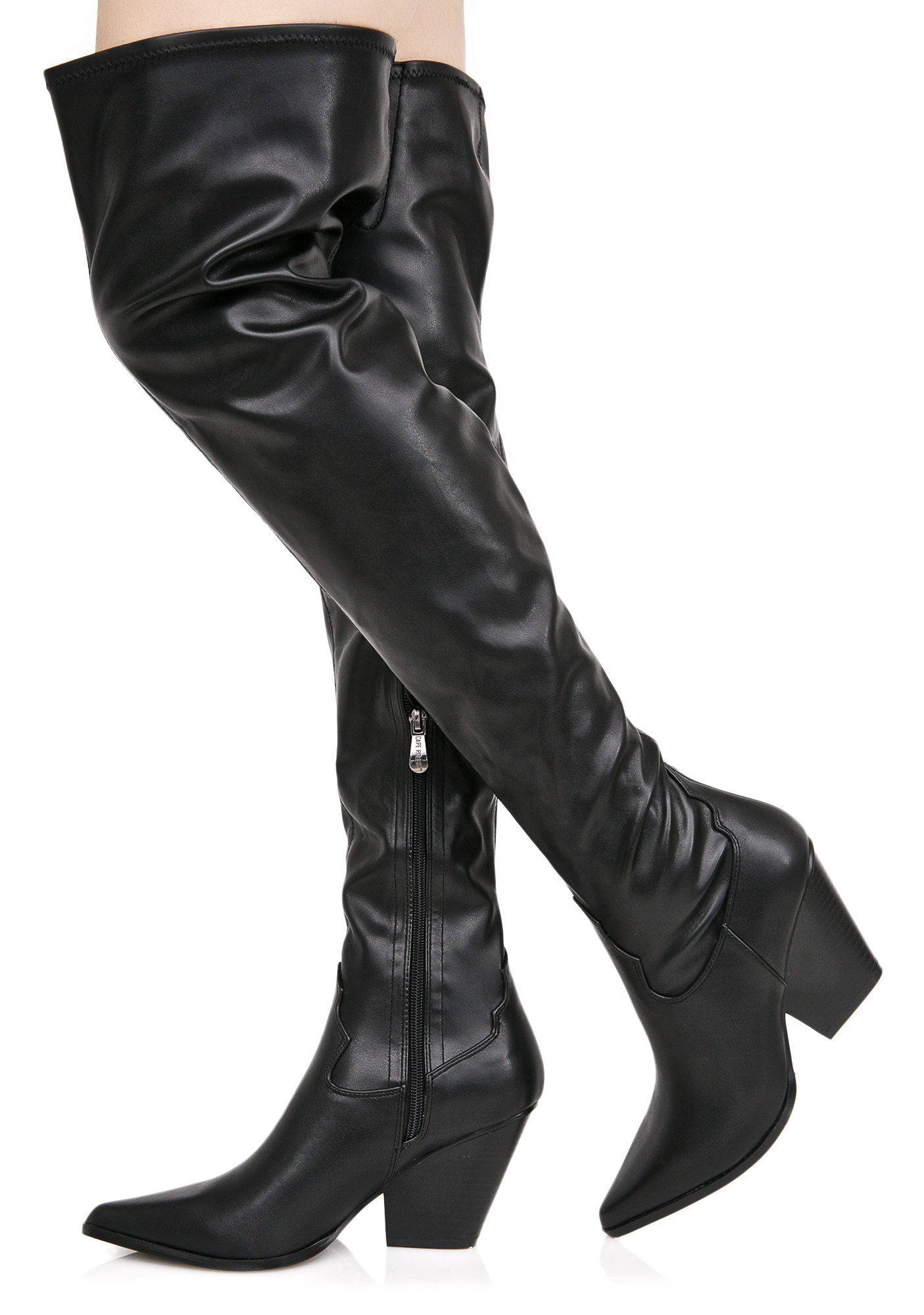 Vegan Leather Thigh High Cowboy Boots