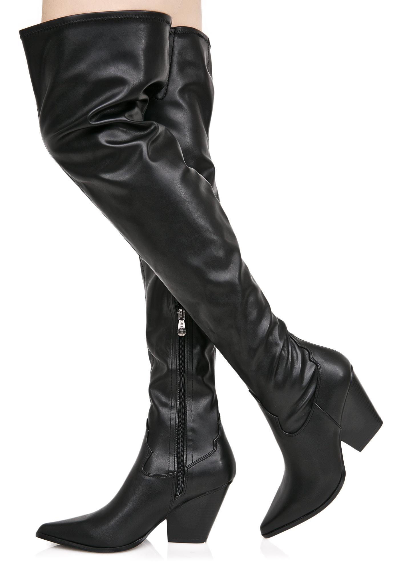 vegan leather thigh high cowboy boots dolls kill