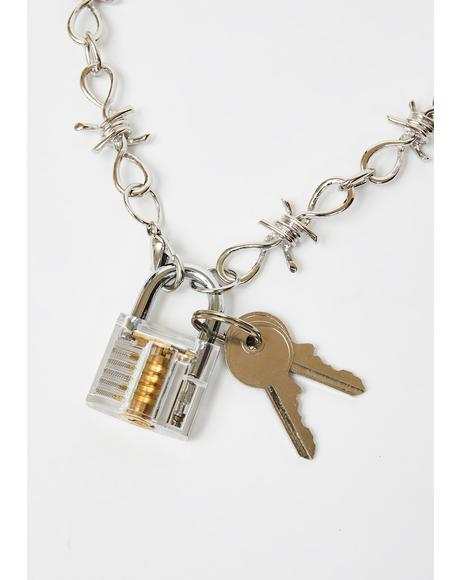 No Restraint Padlock Necklace