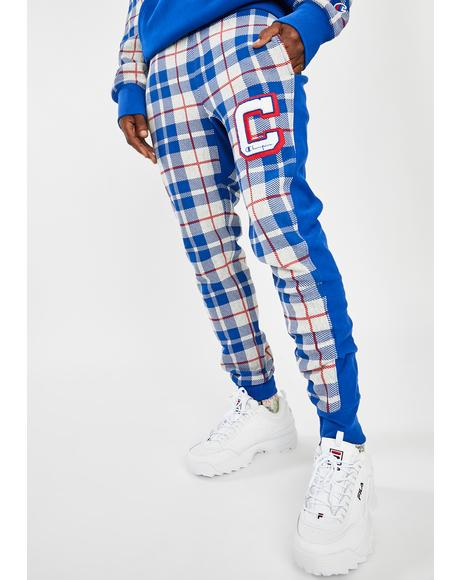 Reverse Weave Plaid Jogger Sweatpants