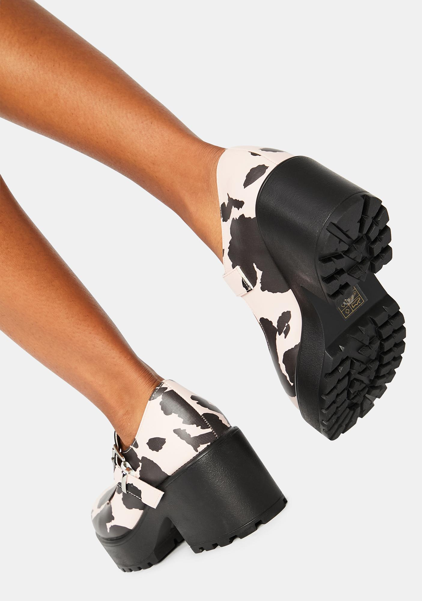 Koi Footwear Pink Nettie Cow Print Mary Janes