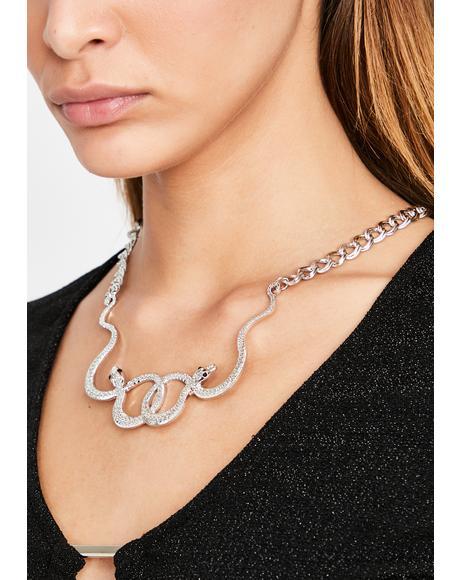 Chrome Bitten Blaze Chain Necklace