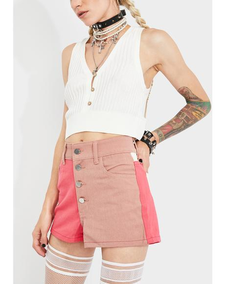 Nude Colorblock Denim Shorts