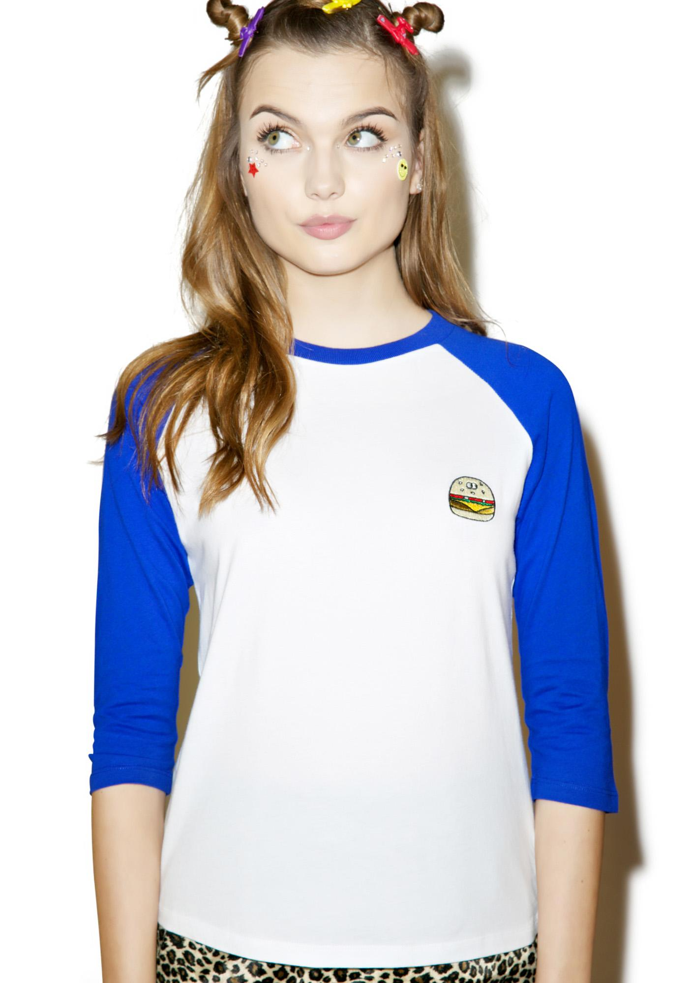 Lazy Oaf Burger Baseball T-Shirt